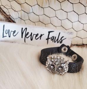 Natasha faux leather/crystal owl bracelet.